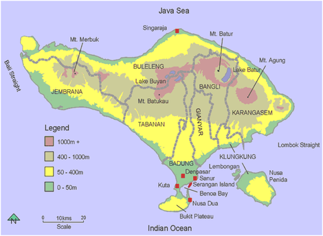 Bali Topographic Map